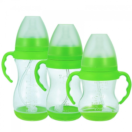 Wide Neck Plastic Baby Feeding Bottle with Handles and Straw 6oz/8oz/10oz