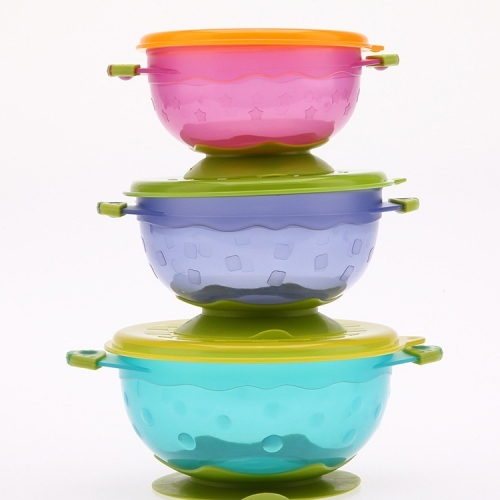 3pcs Colorful Baby Feeding Suction Bowls with Caps