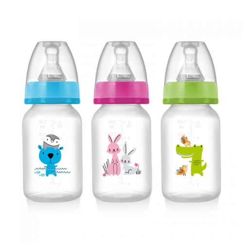 Standard Neck 120ml PP Baby Feeding Bottle with Customized Printing