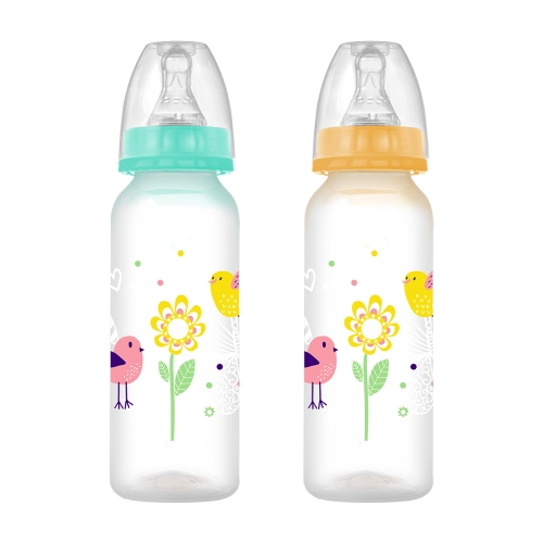 8oz/240ml Straight Shape PP Baby Feeding Bottle with Nipple