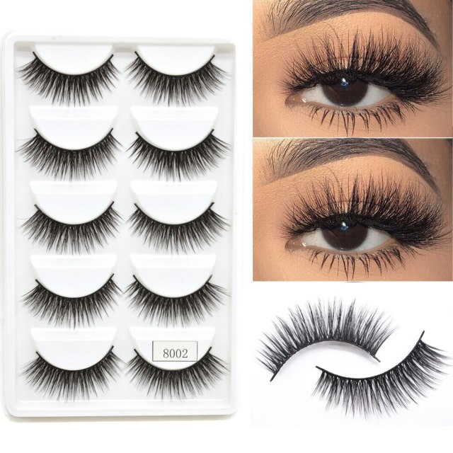 3D Mink  Eyelashes Set 5 Pairs USA Long Thick Natural  Hot Style Eyelash Full Volume Silk C Curl Eyelashes