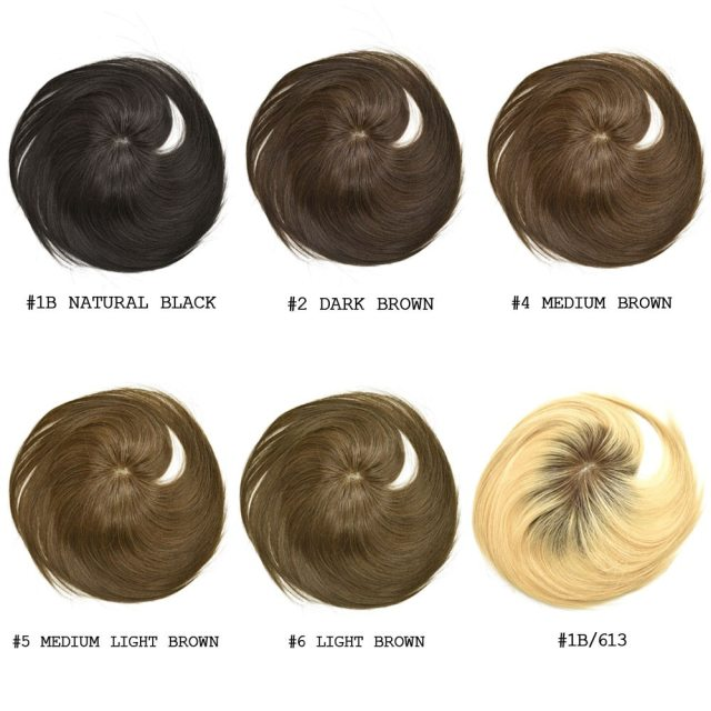 LyricalHair 100% Human Hair Topper Mono Base Crown Clip On Hairpiece Straight With Bangs Top Quality 4 Clips Breathable And Comfortable