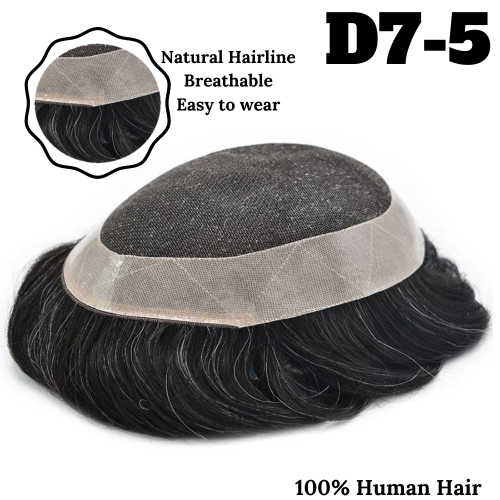 Lyricalhair French Lace Mens Human Hair Toupee Lace Poly Hairpiece Skin PU Around Hair Replacement Wigs for Men D7-5