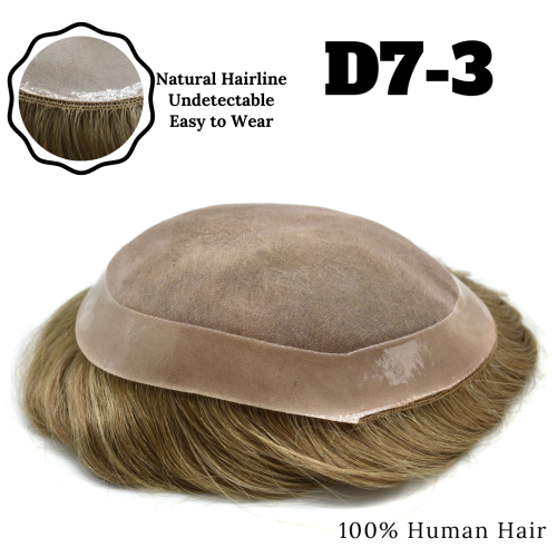 Natural Men Toupee  Indian Hairs Knot Easy Wear Durable Hair System Replacement Medium Density Comfortable D7-3 Men's Wigs