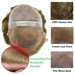 LyricalHair Fine Mono Mens Human Hair Toupee,French Lace Front Hair Pieces For Men, Glue On Clear Poly Skin Around Hair System For Men