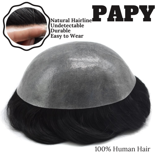 LyricalHair Non Surgical Full Poly Hair Systems For Men,Thin Skin Easy Wear Men's Toupee, Comfortable and Durable Men's Hairpieces