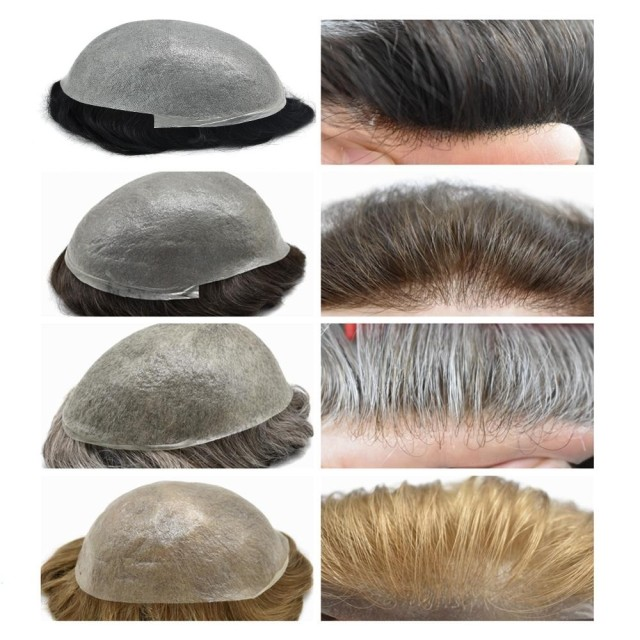 LyricalHair Non-Surgical Ultra Thin Skin Hair System,0.03mm Super Thin Skin Disposable Mens Toupee, Undetectable V-looped Men's Hairpiece