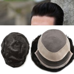 LyricalHair Mens Toupee Fine Mono Human Hair All Hand Tied Natural Hairpiece Medium Density Durable Black Hair Replacement System P1-3-5 Wig