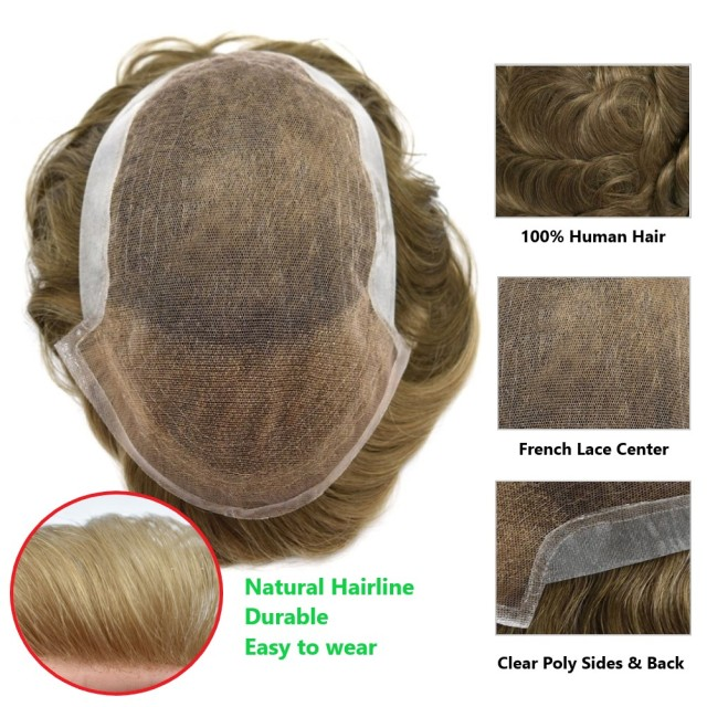 LyricalHair French Lace Mens Toupee Breathable Natural Hairpiece Clear Poly At Sides And Back Toupee For Men Hair Replacement System