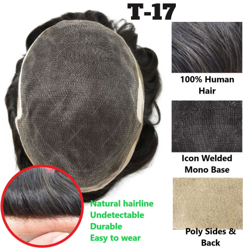 LyricalHair Durable Icon Fine Welded Mono Men's Toupee T-17, Natural Lace Front Invisible Knot Hairpiece 32mm Slight Wave Indian Hairpiece