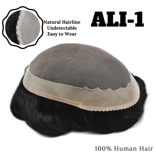 Mens Toupee ALI 1 Fine Mono Poly Coating Around Durable Hair System Hairpiece Human Remy Black Human Hair Replacement Men Wigs