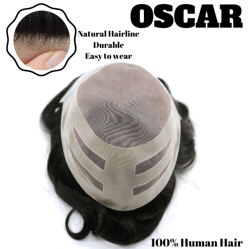 LyricalHair Non Surgical Permanent New Mono Lace Mens Human Hair Toupee System OSCAR, Realistic Bonded Thin Skin Base Mens Real Natural Top Hair Piece