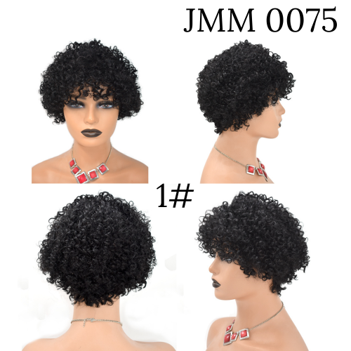 Human Hair Afro Wigs with Bangs Kinky Curly Women's Hair Piece  Natural Black Hair Color wigs (JMM 0075)