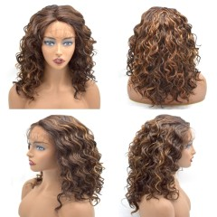 Curly Wigs For Black Women Lace Front High Temperature Synthetic Fiber Wigs For Black Women Afro-American Body Wave Texture 20 Inches Medium Density