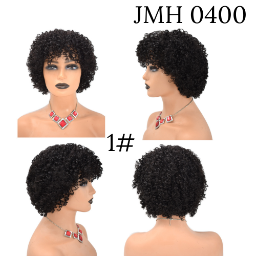 Natural Afro Kinky Curly 100% Human Hair Wigs For Women Short Soft Human Hair (JMH 0400)
