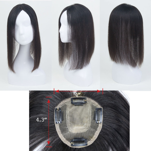 100% Human Hair Topper Mono Base Crown Hairpiece Clip In on Hair Toppers Straight Middle Part Top Quality For Thinning Hair