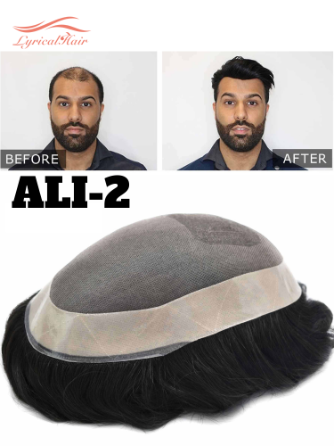 Natural Men Toupee ALI 2 Comfortable Durable Hair System Replacement Medium Density Indian Hairs Double Knot Easy Wear Wig