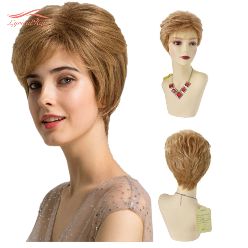 LyricalHair Synthetic Short Wigs For Women, Machine Made Premium Quality Pixie Cut Wig With Bangs,Natural Heat Friendly Wigs For Women