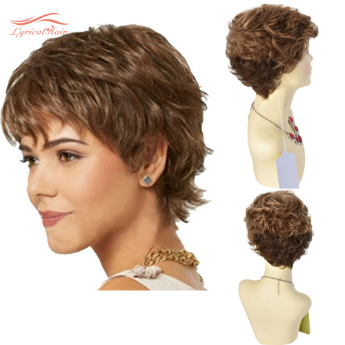 LyricalHair Short Wigs With Bangs Ombre Blonde Pixie Cut Synthetic Hair Wigs for Black/White Women Natural Wavy Daily Wigs