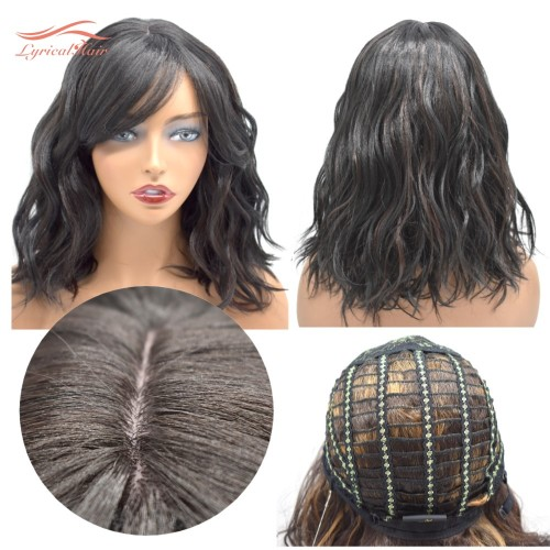 LyricalHair Afro-American Synthetic Lace Front Wavy Wigs Full Cap Curly Style Heat Resistant Shoulder Length Wigs For Black Women