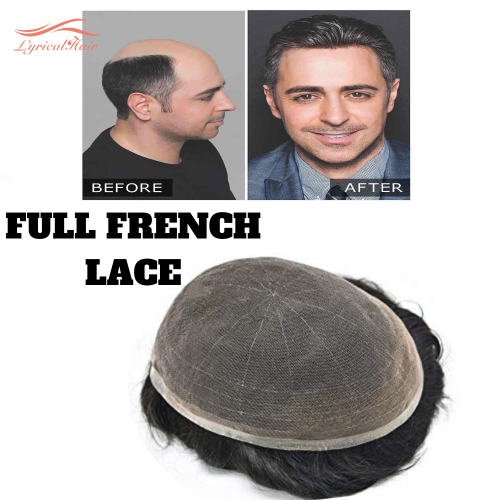 LyricalHair Non Surgical Full French Lace Mens Hair System, Invisible Bleached Knot Lace Front Men's Toupee with Natural Hairline,32mm Slight Wave Indian Hairpiece