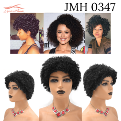Afro Kinky Curly Wigs with Bangs for Black Women Natural Short Soft Human Hair  (JMH 0347)