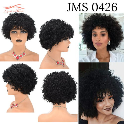 Human Hair Afro Kinky Curly Wigs with Bangs for Black Women Cheao price (JMS 0426)