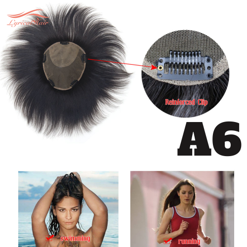 100% Human Hair Topper With Bangs Middle Part Straight Hairpiece Mono Base Crown Topper For Thinning Hair A6 18x20cm