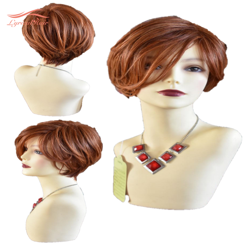 LyricalHair Maxine Burgundy Wine Wig Synthetic Hair Wig for Women With Side Part Bangs Natural Straight Red Layered Hair for Daily Use