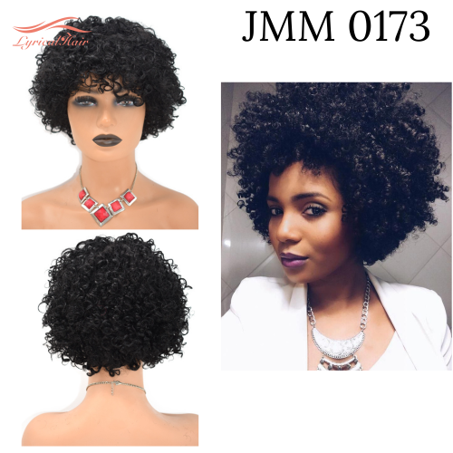 None lace Afro Curly Kinky Wigs with Bangs for Black Women Natural Short Soft 100% Human Hair  (JMM 0173)