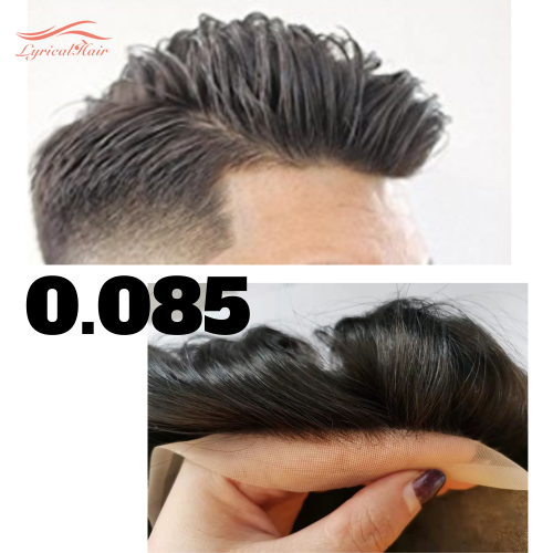 LyricalHair Fine Welded Mono Men's Hair System, Breathable Full Lace Men's Toupee,Slight Wave Natural Looking Durable Mono Men's Hairpieces
