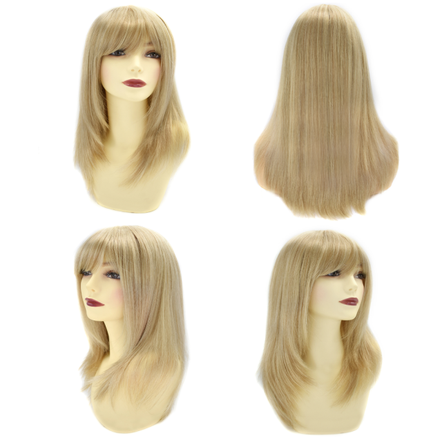 LyricalHair Fashionable Long Mono Top Wig Handtied Top Quality Synthetic Women Brown Blonde Full Cap Wig For Women