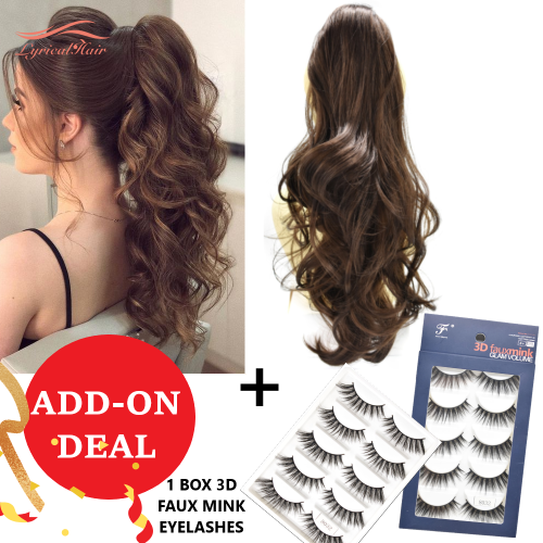 LyricalHair Add-On Deal Synthetic Ponytail Extension Claw Clip On Hair Wavy Style Double Use 22 inches Long With1 Box 3D Faux Mink Eyelashes