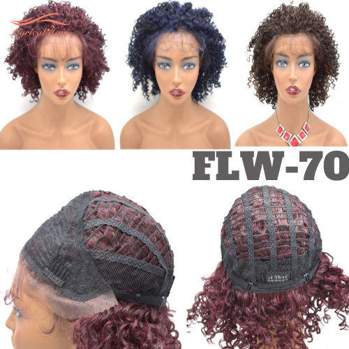 LyricalHair Afro- American Synthetic Lace Front Wig Classic Cap Heat Resistant Hairpiece For Women Cosplay Daily Use FLW-70