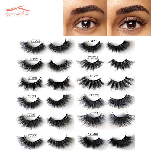 LyricalHair False Eyelashes Natural Faux Mink Strip 3D, strong natural eyelashes, High Quality, Soft and comfortable to use.