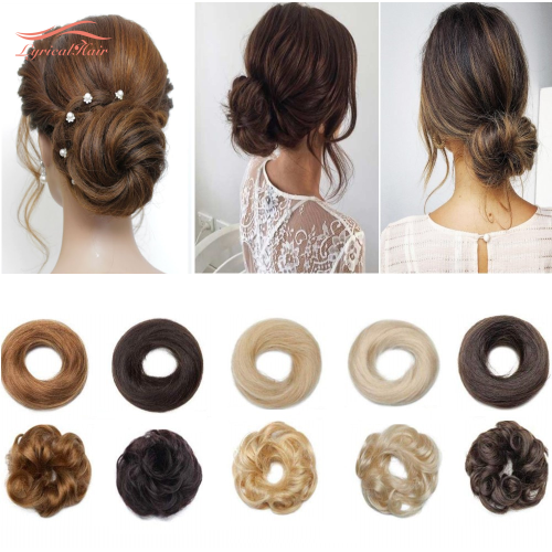 LyricalHair Real Human Hair Bun Chignon Hair Extension Wrap Around Donut Style Rubber Band Scrunchie Fashionable Hair Extension For Women