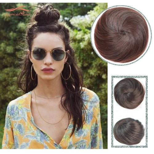 LyricalHair Ladies Human Hair Classic Up Do Drawstring Elastic Scrunchie Chignon Ponytail,Donut Roller Bun Hair Extension
