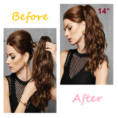 LyricalHair Add-On Deal Synthetic Ponytail Extension Claw Clip On Hair Wavy Style Double Use 14 inches Long With1 Box 3D Faux Mink Eyelashes