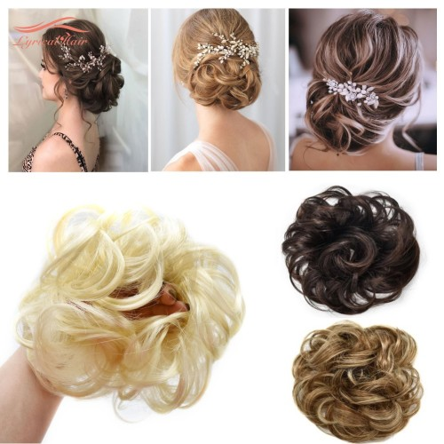 LyricalHair Synthetic Messy Hair Up Do Bun Extension With Elastic Scrunchie Wrap Around Hair Ponytail Hairpiece For Women