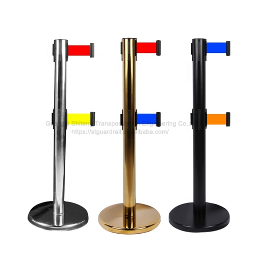 Belt stanchions posts queue barrier pole retractable crowd queue