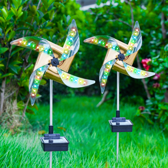 2-Pack Solar Wind Spinner with 8 Lighting Modes