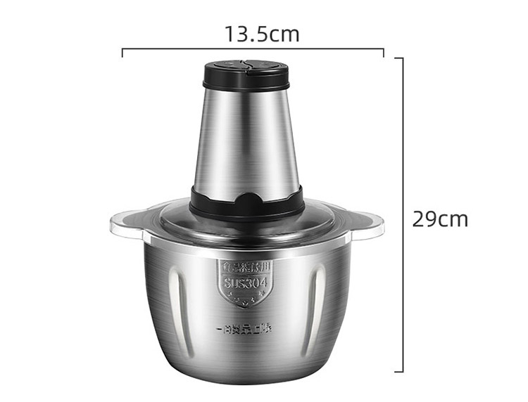 Household 2L 3L Stainless Steel Electric Meat Grinder High Speeds With 4 Blades for Meat