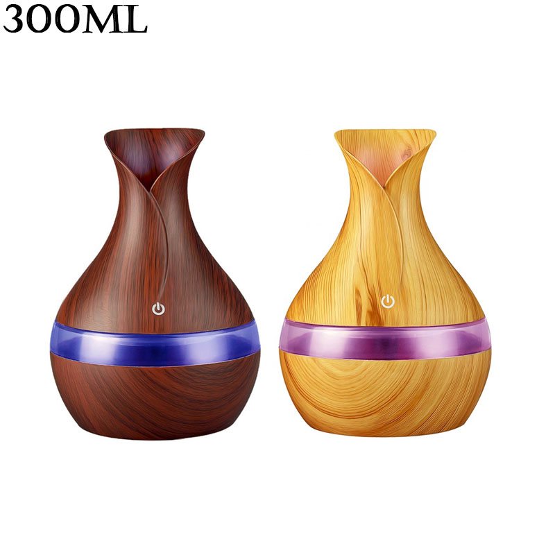 300ml USB Mini Ultrasonic Scent Cool Mist Car humidifier Essential Oil Diffuser Led Wood