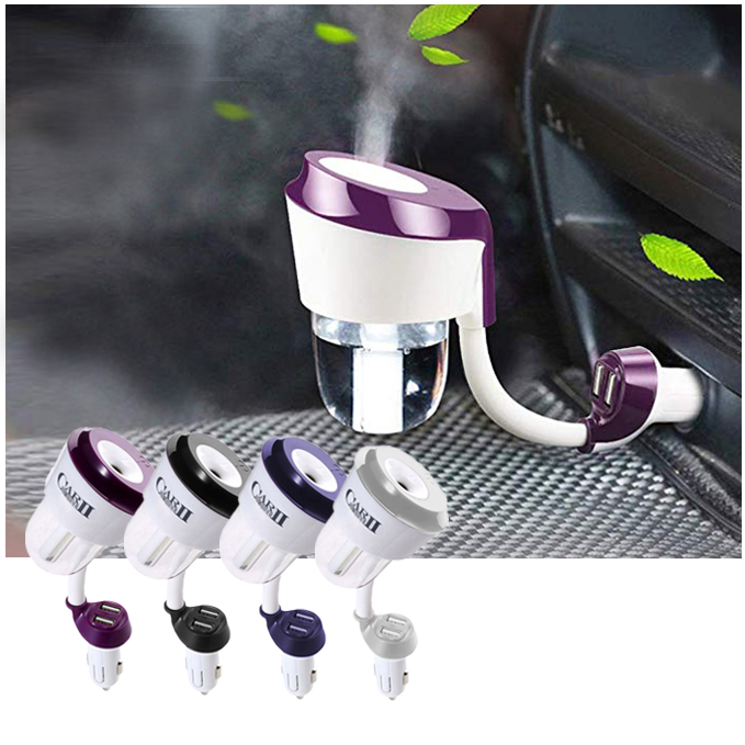 Cool Mist USB Mini Ultrasonic Air Car humidifier With Dual USB Charger
