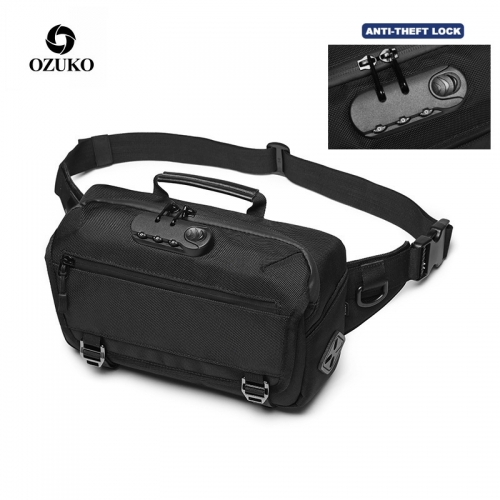 Ozuko 9257 Waist Bag Fanny Pack 2021 Waterproof Mini Pillow Waist Bag For Men Luxury Designers Custom Fanny Pack