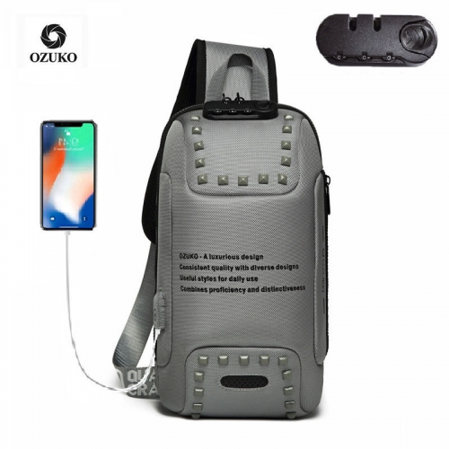 Ozuko 9283 Sport Designer Custom Shoulder Bag Cellphone Crossbody Bag Men 2021 Anti Theft Sling Tactical Sling Bag For Men