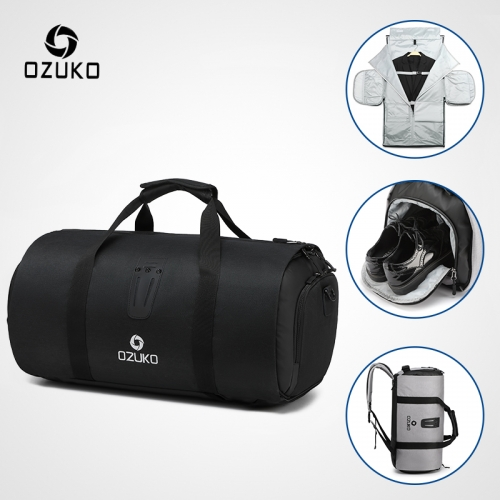 Ozuko 9209 Gym Bags With Shoe Compartment Sports 2021 Basketball Travelling Sports Backpack Sneaker Custom Luggage Travel Bags