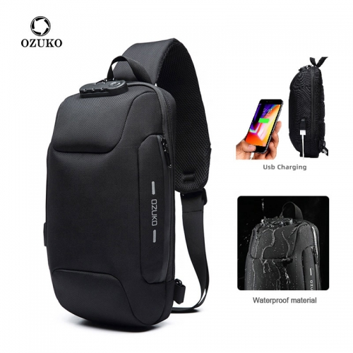 Ozuko 9223 Cellphone 2021 Crossbody Bag Men Single Buckle Custom Shoulder Bag Small Custom Men Sling Bag