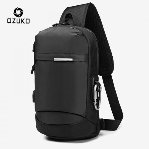OZUKO 9262 for Men Fashion Sling Bag Male Waterproof Travel Chest Bag USB Single Shoulder Strap Pack