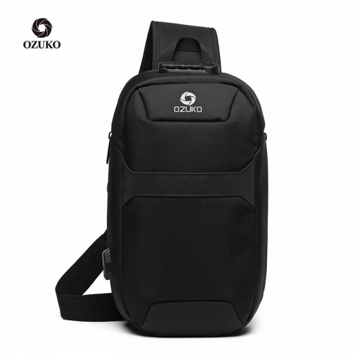 Ozuko 9270 Satchel Crossbody Nylon Sports Chest Men Waterproof Usb Multifunction Anti Theft Sling Bag